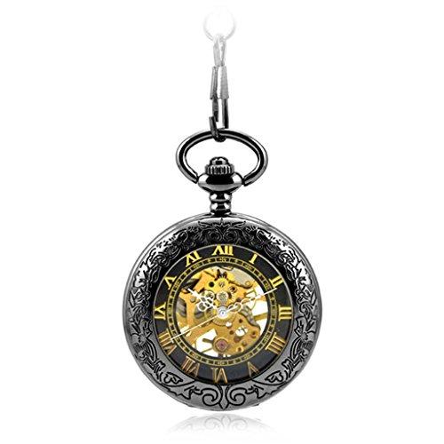 Retro Schwarz Geschnitzt Uhr Mechanische Automatische Taschenuhr Halskette Kette