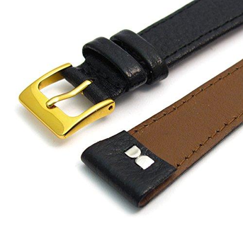 Herren Offene Enden Leder Uhrenarmband Band fuer Vintage Uhren 18 mm breit schwarz G