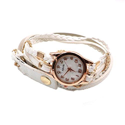 Jahrgang Frauendame Weben Wrap Leder Armband Armbanduhr Weiss