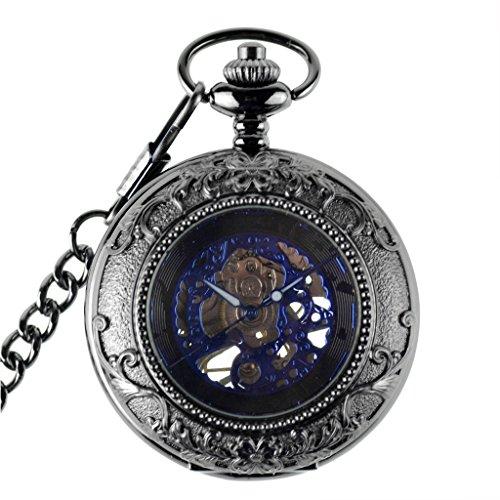 Jahrgang Mens Mechanische Graviert Hand Wind Kette Taschenuhr Blau Schwarz