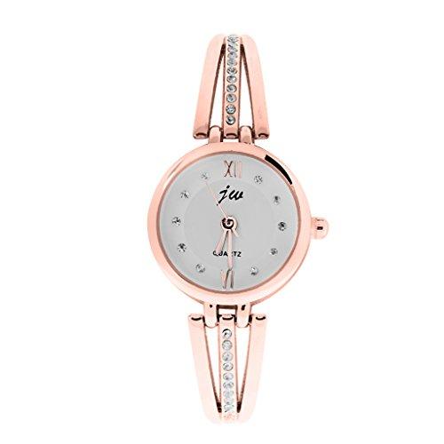 Kristall Dame Armband Quarz Uhren Armbanduhr Wristwatch Armbaender Uhr Gold