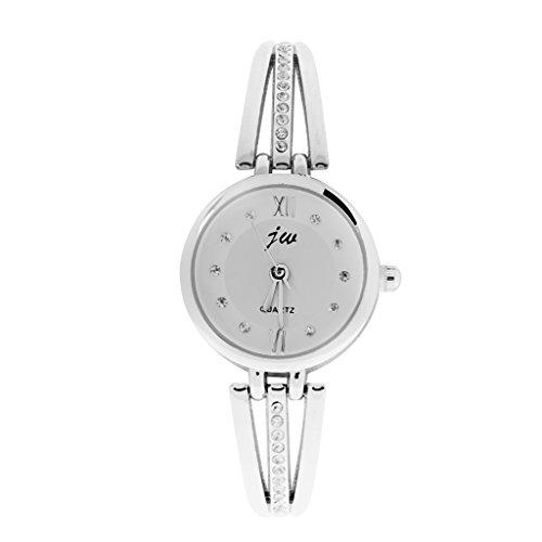 Kristall Dame Armband Quarz Uhren Armbanduhr Wristwatch Armbaender Uhr Silber