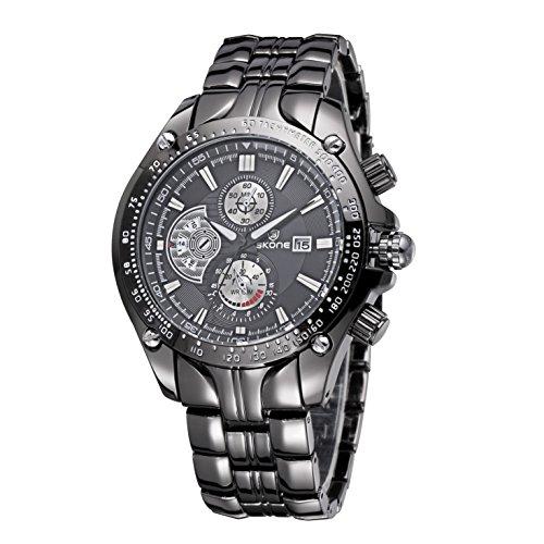 Luxus Marke Datum Sehen Maenner Helle Mode Auf Quarz Business Casual Voller Stahl Armbanduhr Schwarz