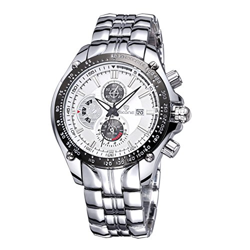 Luxus Marke Datum Sehen Maenner Helle Mode Auf Quarz Business Casual Voller Stahl Armbanduhr Silber