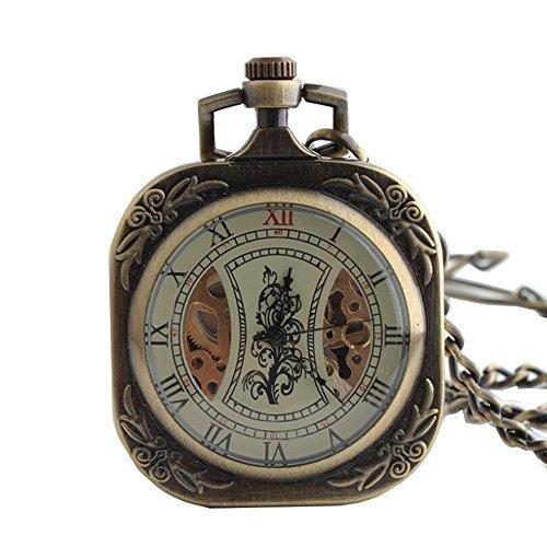 Antik Quadratisch Bronze Mechanische Hand Aufziehen Taschenuhr Kette Uhr roemischen Ziffern Mann Frauen