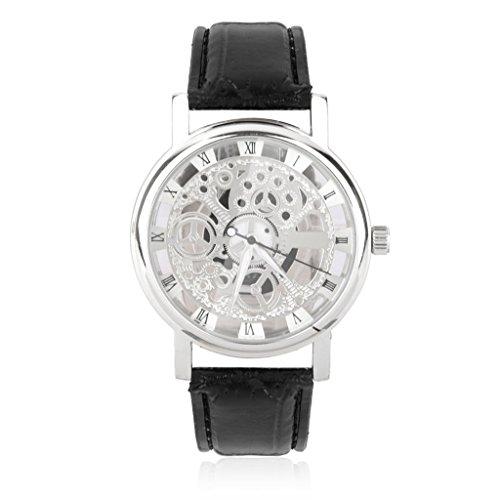 Roemische Ziffern Fauxleder Skelett Sport Armbanduhr Schwarz Silber