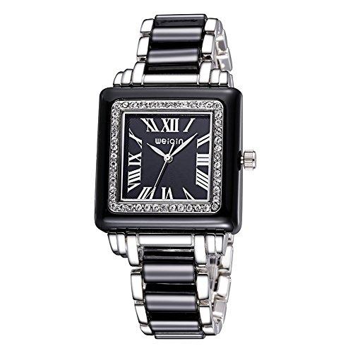 Platz Schauen Frauen Klassische Quarz Strass Uhren Voller Stahl Kleid Armbanduhr Silber