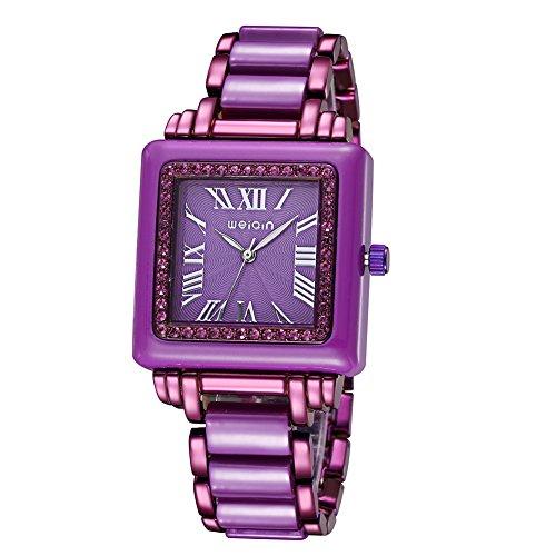Platz Schauen Frauen Klassische Quarz Strass Uhren Voller Stahl Kleid Armbanduhr