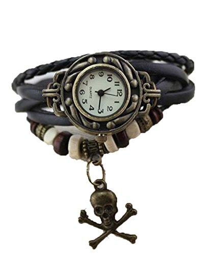 Skeleton Charm Weave Wrap Around Leather Belt Watch Black