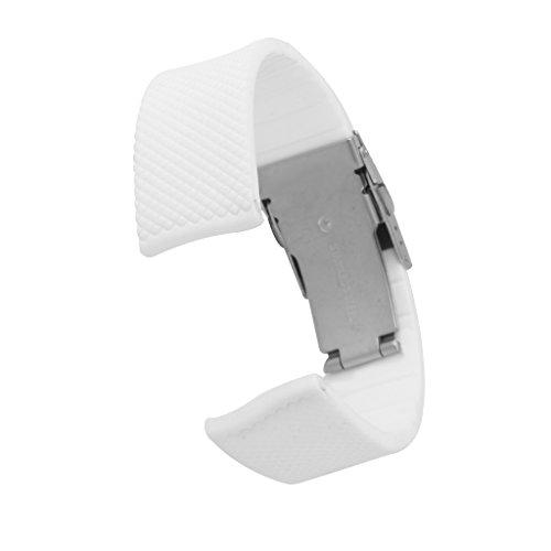 Sport Weiss Silikonuhrenarmband Band Einsatz Wasserdicht 22mm Schnalle