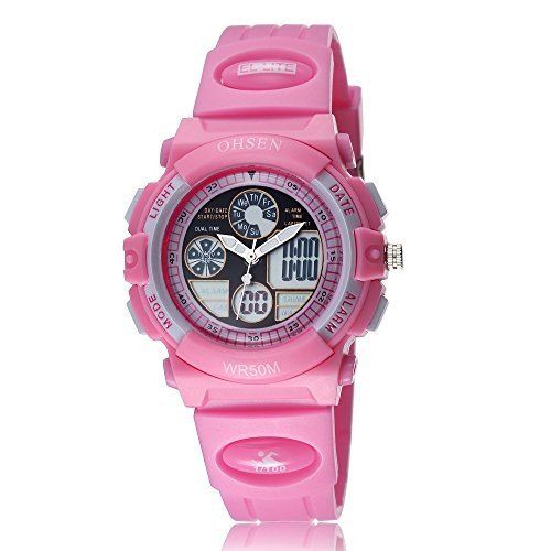 Uhr Armbanduhr Herrenuhr Damenuhr Quartz fuer Kinder Maedchen Analog Nadeln Digital LCD Display Zifferblatt Rosa Silikon Band Rosa Datum Tag Alarm