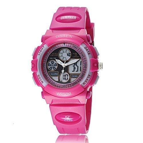 Uhr Armbanduhr Quartz fuer Kinder Maedchen Analog Nadeln Digital LCD Display Zifferblatt Rosa Rot Silikon Band Rosa Rot Datum Tag Alarm