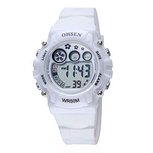 Kinder Jungen Wasserdicht Kids Digital Elektronische Uhr mit Alarm Chronograph Stoppuhr LED Beleuchtung Weiss