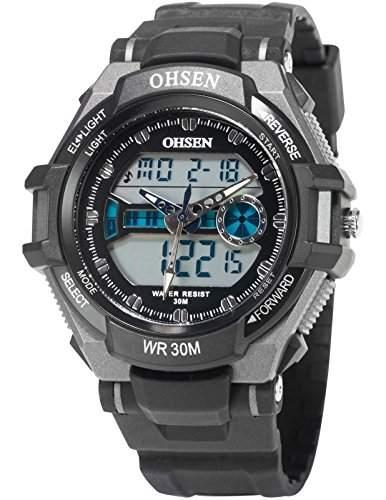 OHSEN Sportuhr LED Digitaluhr LCD Herren Uhr Stoppuhr Quarzuhr Gummi Armbanduhr