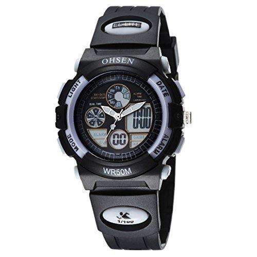OHSEN Kinder Digital Analog Armbanduhr Multifunktion Kids Wasserdicht Sports Elektronische Uhr AD1502 Schwarz Weiss