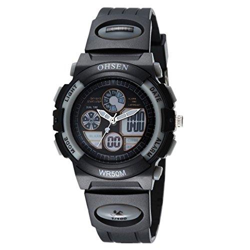 OHSEN Kinder Digital Analog Armbanduhr Multifunktion Kids Wasserdicht Sports Elektronische Uhr AD1502 Schwarz Grau