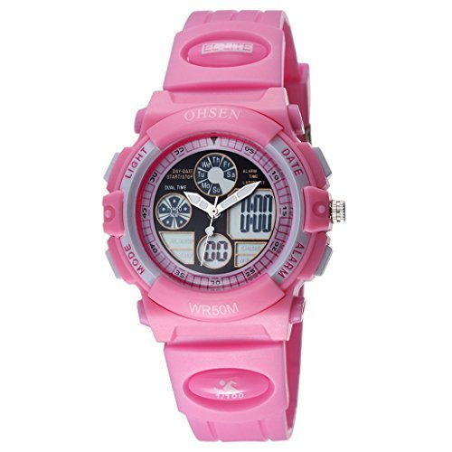 OHSEN Kinder Digital Multifunktion Kids Wasserdicht Sports Elektronische Uhr AD1502 Rosa