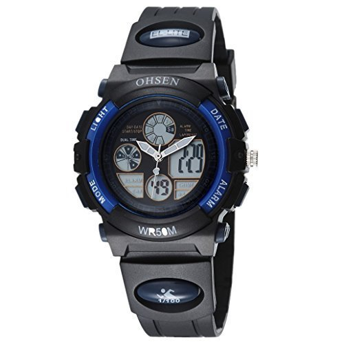 OHSEN Kinder Digital Multifunktion Kids Wasserdicht Sports Elektronische Uhr AD1502 Schwarz Blau