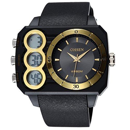 OHSEN Cool Herren Damen Sports Armbanduhr Wasserdicht Analog Digital Outdoors Dual Anzeige Uhr mit LED Beleuchtung Chronograph Schwarz Gold