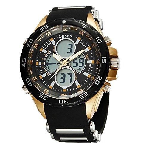 OHSEN Wasserdicht Sport Freizeit Dual Bewegungen Analog Digital Uhr mit Alarm Kalender LED Beleuchtung Schwarz Gold