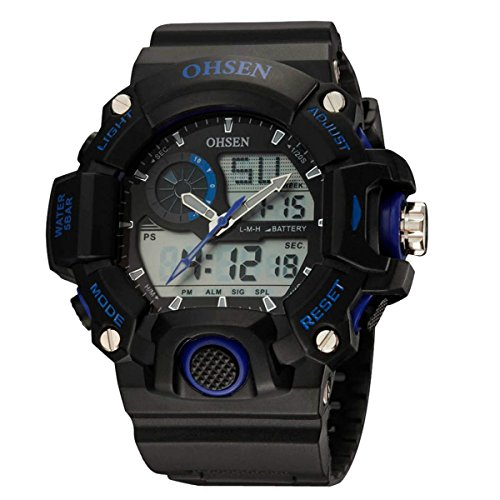 OHSEN Herren Damen Sports Armbanduhr Wasserdicht Dual Bewegungen Outdoors Cool Analog Digital Uhr mit Chronograph LED Beleuchtung Schwarz Blau
