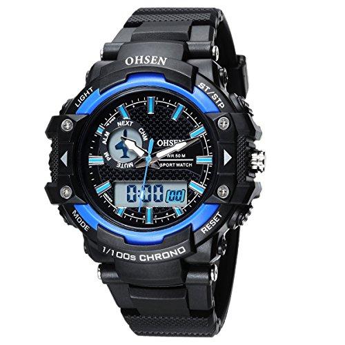 OHSEN Damen Herren Sports Armbanduhr Wasserdicht Analog Digitaluhr mit Chronograph Alarm Stoppuhr LED Beleuchtung Schwarz Blau