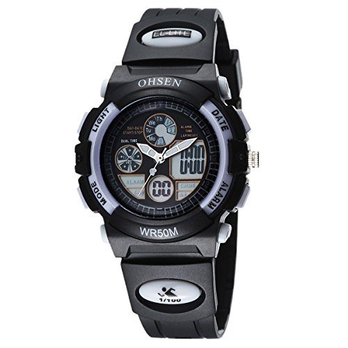 OHSEN Jungen Maedchen Sport Armbanduhr Wasserdicht Jugendliche Digital Analog Uhr mit Kalender Alarm Stoppuhr Chronograph Schwarz Weiss
