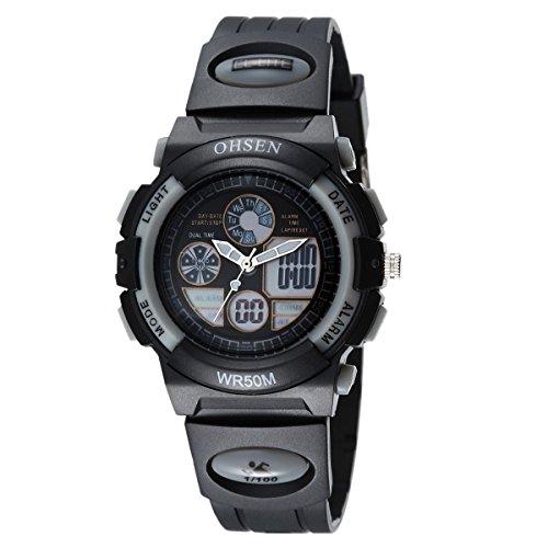 OHSEN Jungen Maedchen Sport Armbanduhr Wasserdicht Jugendliche Digital Analog Uhr mit Kalender Alarm Stoppuhr Chronograph Schwarz Grau
