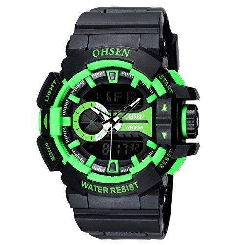 OHSEN Herren Damen Sports Armbanduhr Wasserdicht Cool Stil Analog Digital Outdoors Multifunktionen Uhr mit LED Beleuchtung Schwarz Gruen