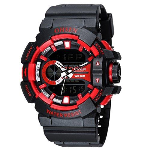 OHSEN Herren Damen Sports Armbanduhr Wasserdicht Cool Stil Analog Digital Outdoors Multifunktionen Uhr mit LED Beleuchtung Schwarz Rot