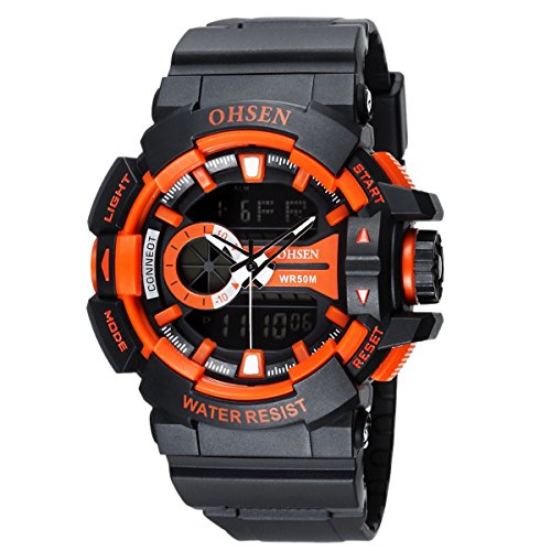 OHSEN Herren Damen Sports Armbanduhr Wasserdicht Cool Stil Analog Digital Outdoors Multifunktionen Uhr mit LED Beleuchtung Schwarz Orange