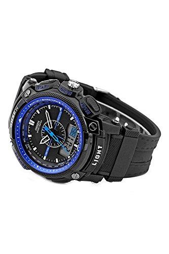 OHSEN Digitale LCD Alarm Datum Maenner Sport Gummi Uhr Blau