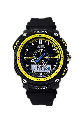 OHSEN Digitale LCD Alarm Datum Maenner Sport Gummi Uhr gelb