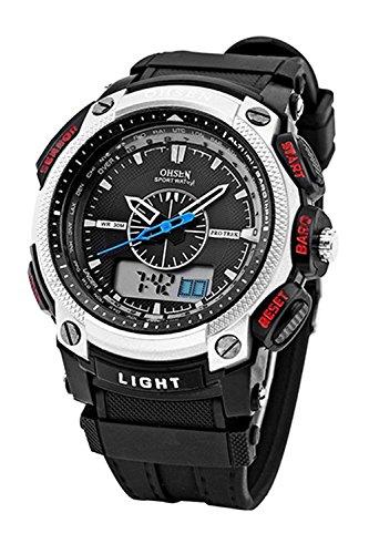 OHSEN Digitale LCD Alarm Datum Maenner Sport Gummi Uhr silber