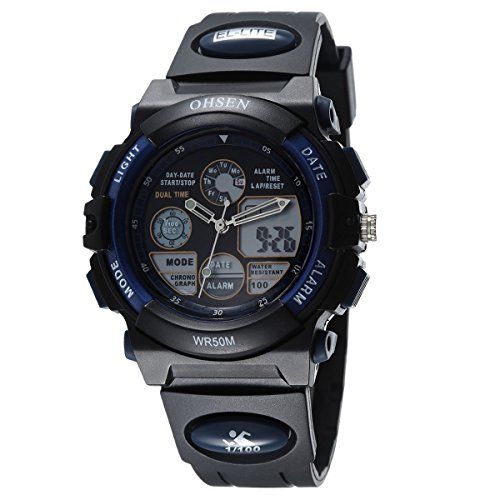 OHSEN Jugendliche Armbanduhr Wasserdicht Damen Analog Digital Sportsuhr mit Kalender Alarm Stoppuhr Chronograph Schwarz Blau