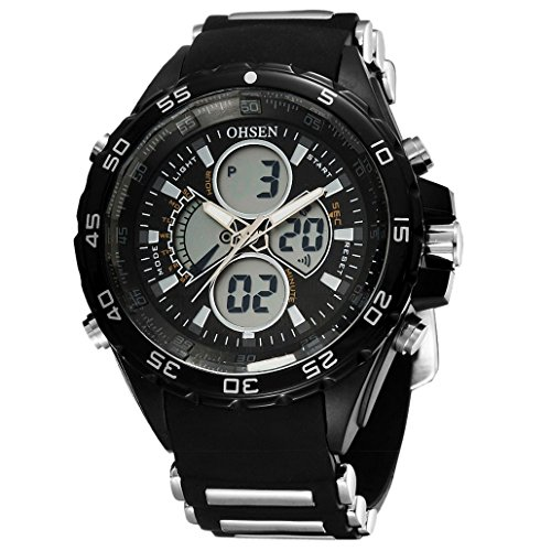OHSEN Unisex Multifunktion Sports Uhr Outdoor Digital Analog Wasserdicht Armbanduhr Teenager AD2816 Schwarz