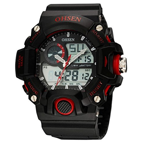 OHSEN Unisex Multifunktion Sports Uhr Outdoor Digital Analog Wasserdicht Armbanduhr Teenager AD2808 Schwarz Rot
