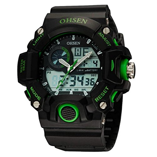 OHSEN Unisex Multifunktion Sports Uhr Outdoor Digital Analog Wasserdicht Armbanduhr Teenager AD2808 Schwarz Gruen