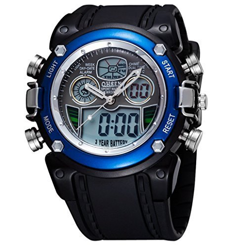 OHSEN Unisex Multifunktion Sports Uhr Outdoor Digital Analog Wasserdicht Armbanduhr Teenager AD0721 Schwarz Blau