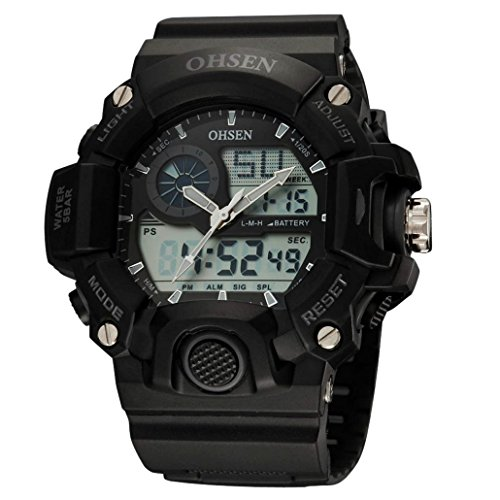 OHSEN Unisex Multifunktion Sports Uhr Outdoor Digital Analog Wasserdicht Armbanduhr Teenager AD2808 Schwarz