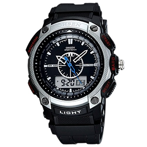 OHSEN Unisex Multifunktion Sports Uhr Outdoor Digital Analog Wasserdicht Armbanduhr Teenager AD1209 Schwarz Silber