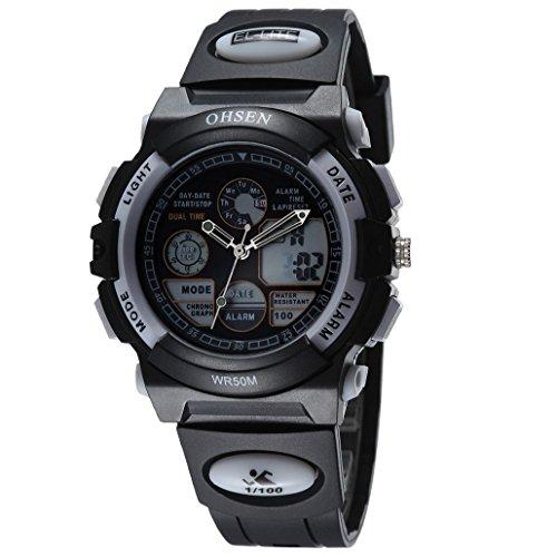 OHSEN Unisex Multifunktion Sports Uhr Outdoor Digital Analog Wasserdicht Armbanduhr Teenager AD1501 Schwarz Weiss