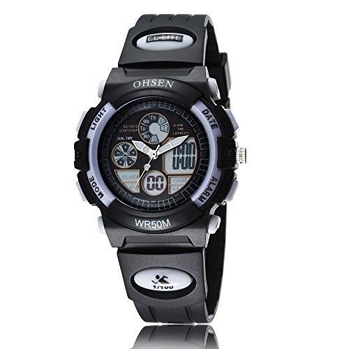 OHSEN Sportuhren Damen Sport Dual Time Quarz led Analog Digital Wasserdicht Armbanduhr mit Kalender Alarm stopwatch black