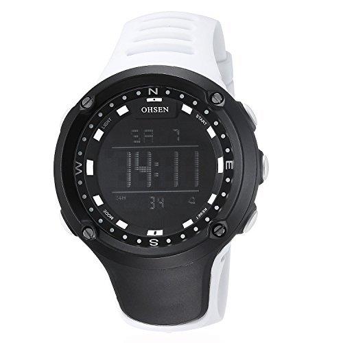 OHSEN Damen Herren Sports Wasserdicht Jugendliche Outdoors Elektronische Uhr mit Alarm Chronograph LED Beleuchtung Weiss