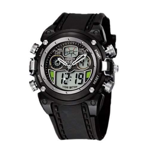 OHSEN YI-AD0721-1 LCD Digital Quarz Analog Herrenuhr Sport-Alarm-Uhr Schwarz