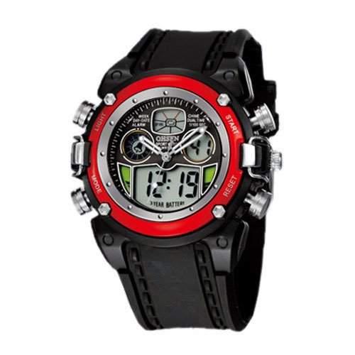 OHSEN YI-AD0721-3 LCD Digital Quarz Analog Herrenuhr Sport-Alarm-Uhr Rot