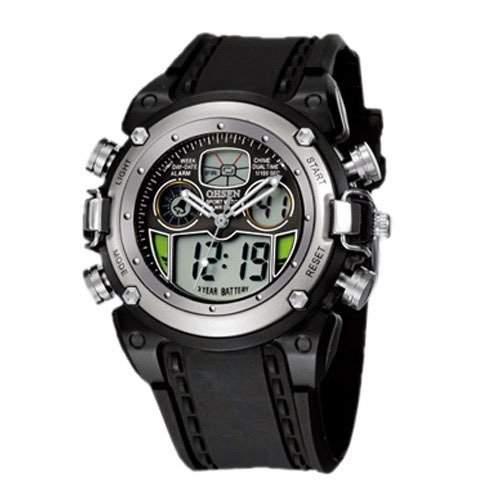 OHSEN YI-AD0721-4 LCD Digital Quarz Analog Herrenuhr Sport-Alarm-Uhr Weiss