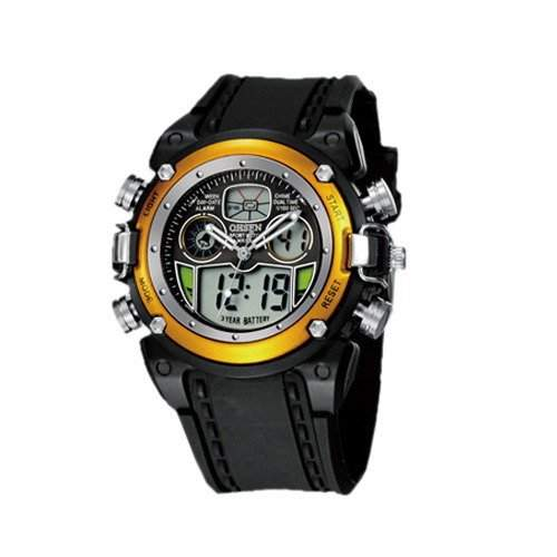 OHSEN YI-AD0721-5 LCD Digital Quarz Analog Herrenuhr Sport-Alarm-Uhr Gelb
