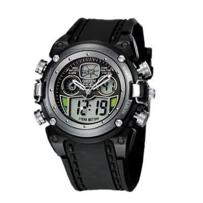 OHSEN YI-AD0721-6 LCD Digital Quarz Analog Herrenuhr Sport-Alarm-Uhr Silber