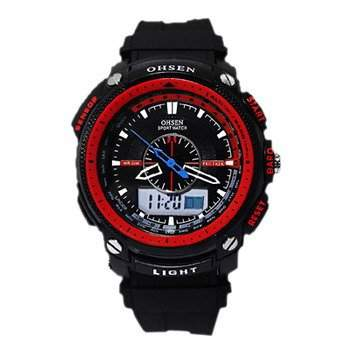 OHSEN YI-AD1209-4 LCD Stoppuhr Datum Tag Dual Core Mens Sport Rubber Uhr Rot